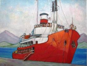 Β.Ν. Πλοίο στο μώλο, λάδι σε χαρτόνι