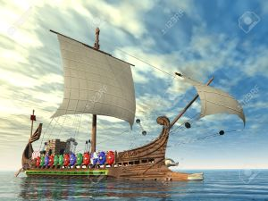 21010707-antica-nave-da-guerra-romana-archivio-fotografico